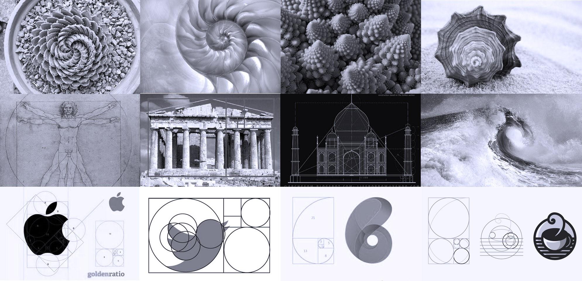Proporção Áurea na natureza, arquitetura, arte e no design.